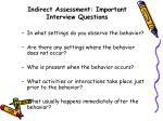 indirect assessment important interview questions