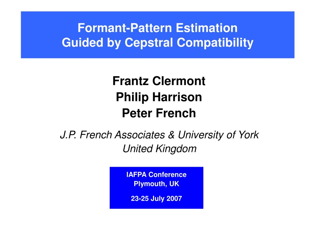 formant pattern estimation guided by cepstral compatibility l.
