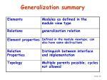 generalization summary