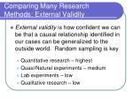 comparing many research methods external validity