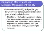 comparing many research methods measurement validity