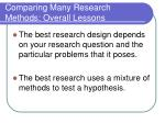 comparing many research methods overall lessons