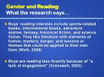 gender and reading what the research says