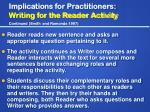 implications for practitioners writing for the reader activity continued smith and ramonda 1997