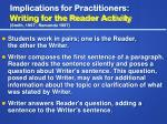 implications for practitioners writing for the reader activity smith 1997 ramonda 1997