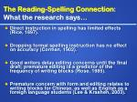 the reading spelling connection what the research says