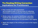 the reading writing connection implications for practitioners