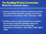 the reading writing connection what the research says