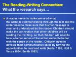 the reading writing connection what the research says15