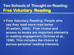 two schools of thought on reading free voluntary reading