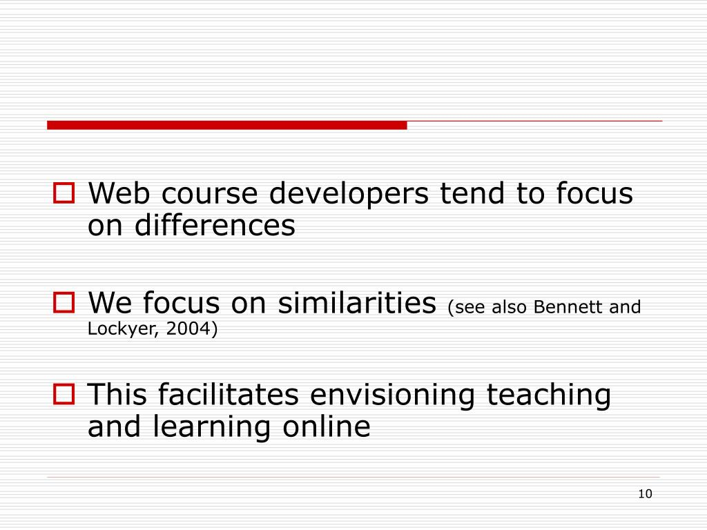 Web course developers tend to focus on differences