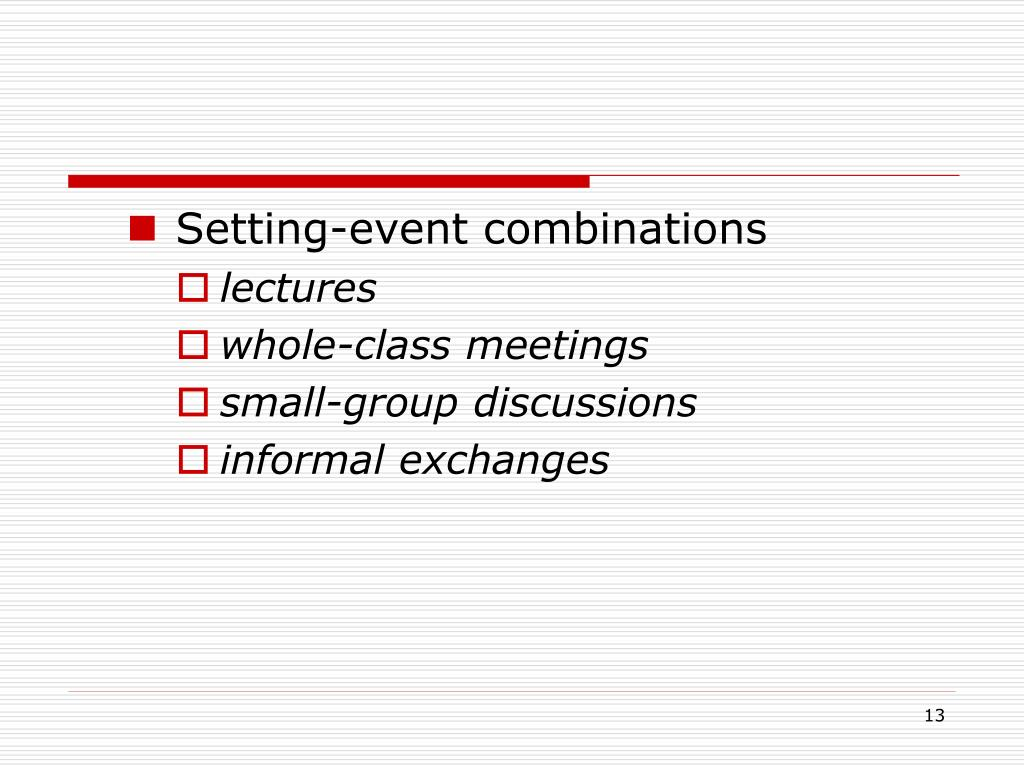 Setting-event combinations