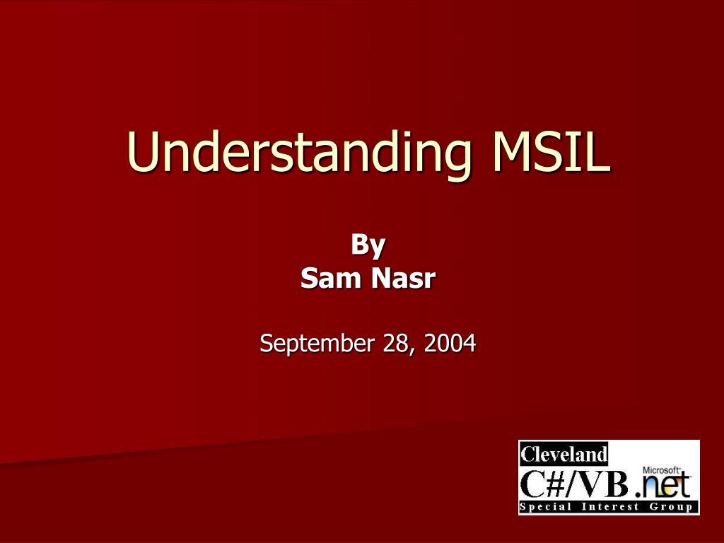 understanding msil l.
