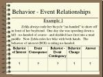 behavior event relationships
