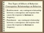 two types of effects of behavior consequence relationships on behavior
