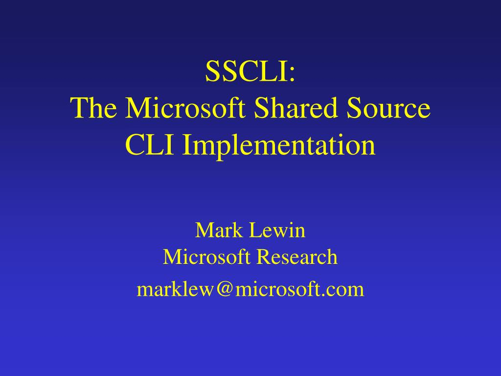 sscli the microsoft shared source cli implementation l.