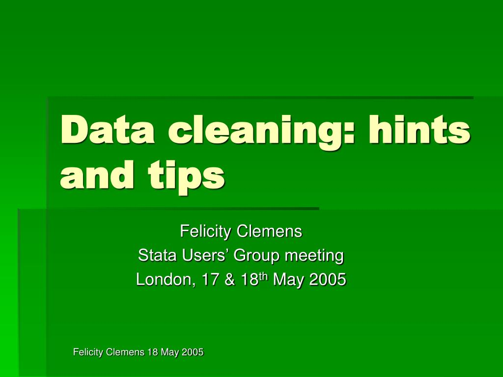 data cleaning hints and tips l.