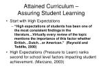 attained curriculum assuring student learning
