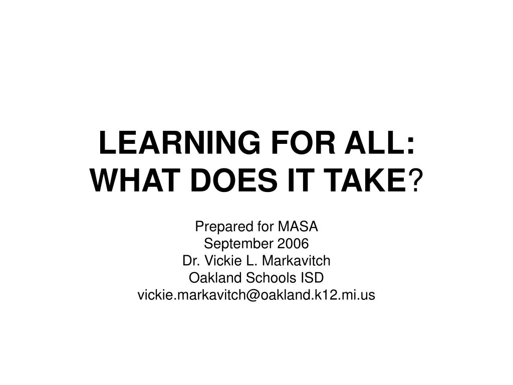learning for all what does it take l.