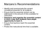marzano s recommendations