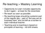 re teaching mastery learning