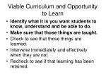 viable curriculum and opportunity to learn