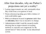 after four decades why are parker s projections not yet a reality