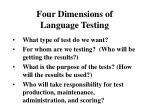 four dimensions of language testing