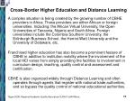 cross border higher education and distance learning