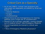 critical care as a specialty