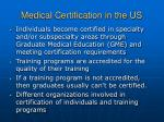 medical certification in the us
