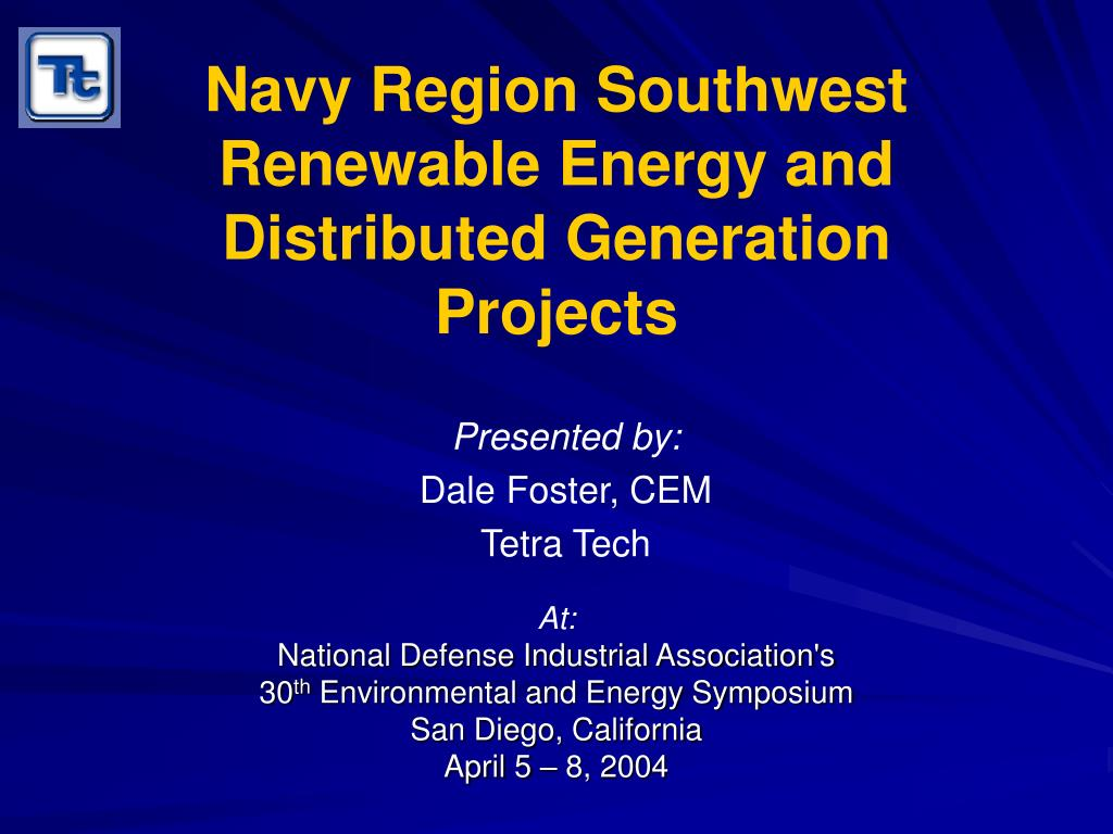navy region southwest renewable energy and distributed generation projects l.