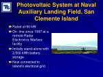 photovoltaic system at naval auxiliary landing field san clemente island