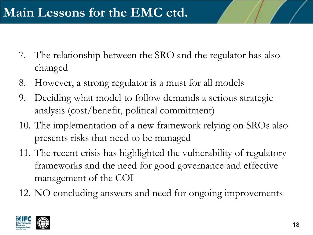 Main Lessons for the EMC ctd.