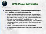 nfis project deliverables
