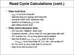 read cycle calculations cont
