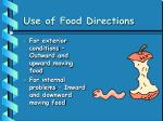 use of food directions