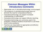 common messages within introductory comments
