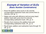 example of variation of gles basic number combinations