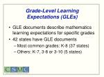 grade level learning expectations gles