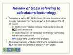 review of gles referring to calculators technology