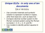 unique gles in only one of ten documents 28 of 108 gles