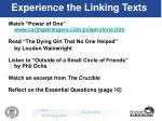 experience the linking texts