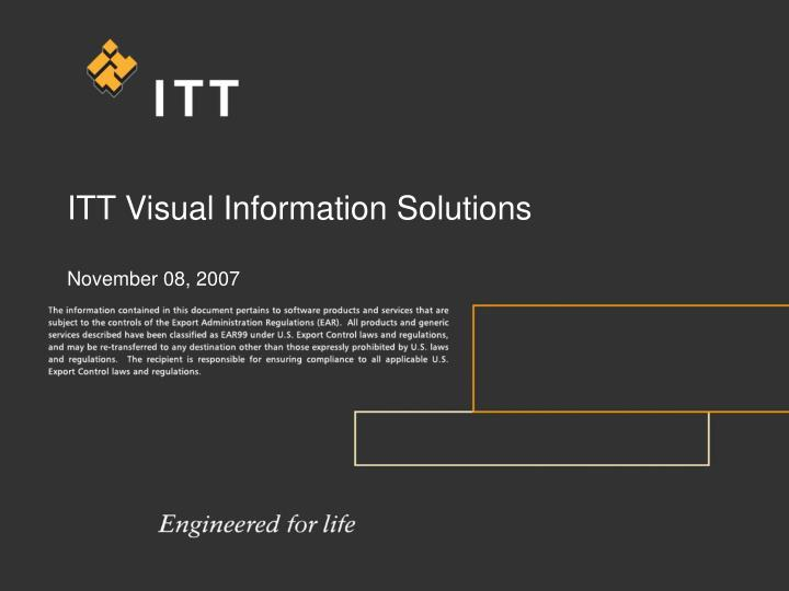 itt visual information solutions november 08 2007 n.