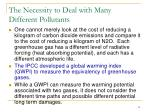 the necessity to deal with many different pollutants
