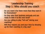leadership training step 1 who should you coach