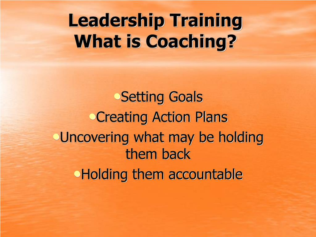 leadership training what is coaching l.