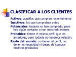 clasificar a los clientes