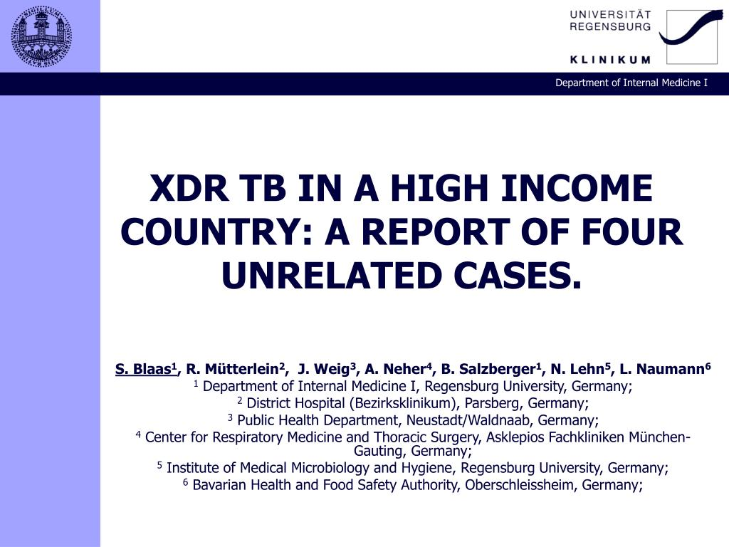 XDR TB IN A HIGH INCOME COUNTRY: A REPORT OF FOUR UNRELATED CASES.