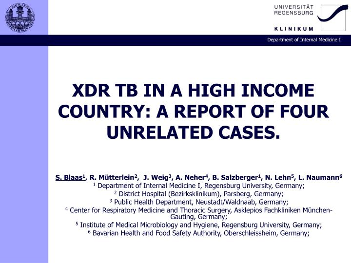 Xdr tb in a high income country a report of four unrelated cases